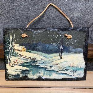 Winter Landscape Artwork on Slate Slab